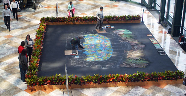 Koi Pond 3-D drawing in the Winter Garden