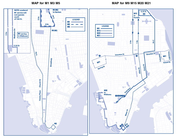 MTA Maps for bus changes in Lower Manhattan
