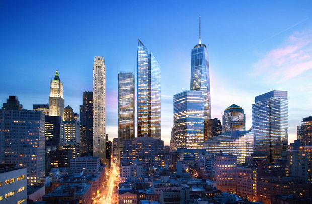 New World Trade Center View Looking South at Dusk (Courtesy: Silverstein Properties)