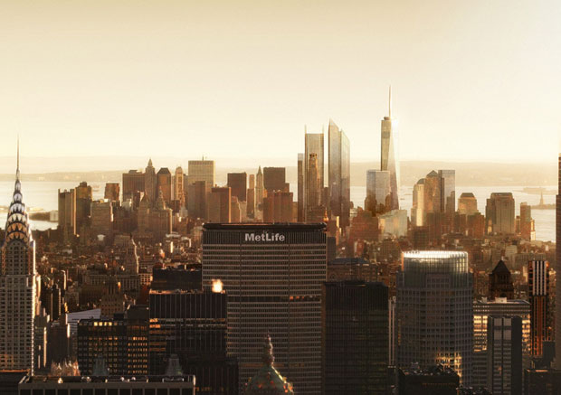 World Trade Center Site from Midtown (Sepia) (Courtesy: Silverstein Properties)