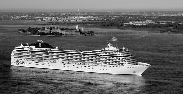 MSC Poesia Passing Ellis Island view from Battery Park City
