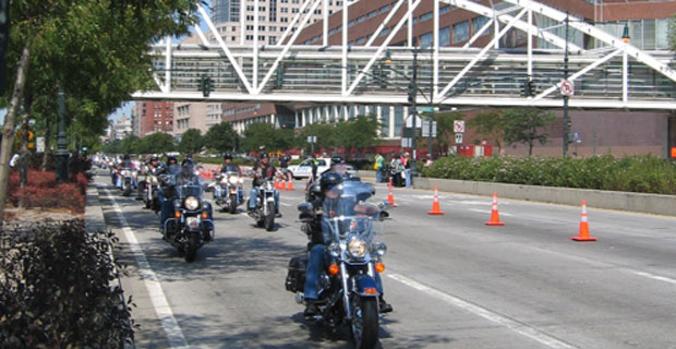 Motorcyclists in Battery Park City
