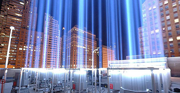 Tribute in Light in Battery Park