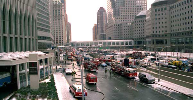World Trade Center bombing scene in 1993