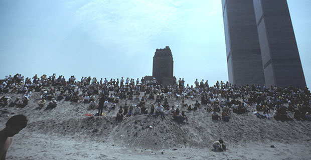 Battery Park City landfill beach at the foot of the Twin Towers
